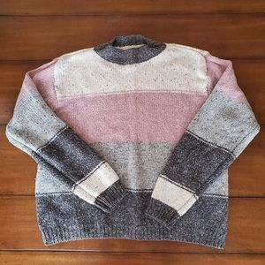 Cream gray pink color heather color block sweater